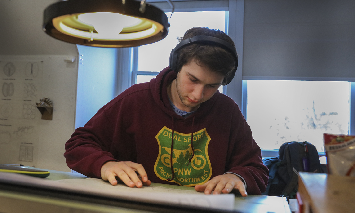 "Bjorn Antell '21 works on a landscape design for the City of Geneva as part of ""Architecture Design Studio"" with Assistant Professor of Art and Architecture Gabriella D'Angelo."