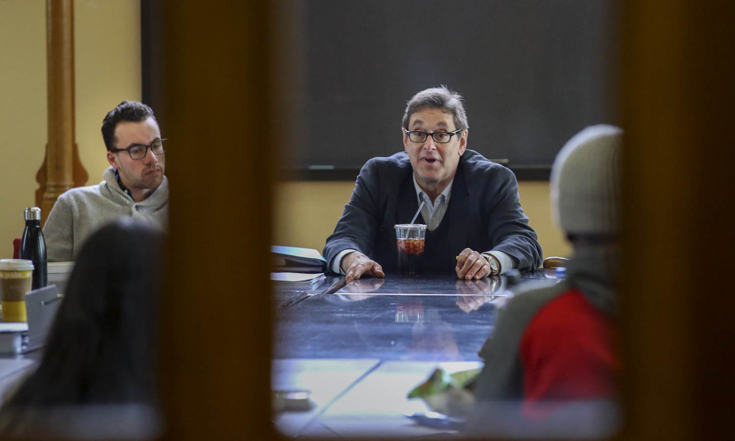 "Professor of Philosophy and Faculty Pre-Law Advisor Scott Brophy '78, P'12 speaks to students during ""Early Modern Philosphy ""in the Blackwell Room."