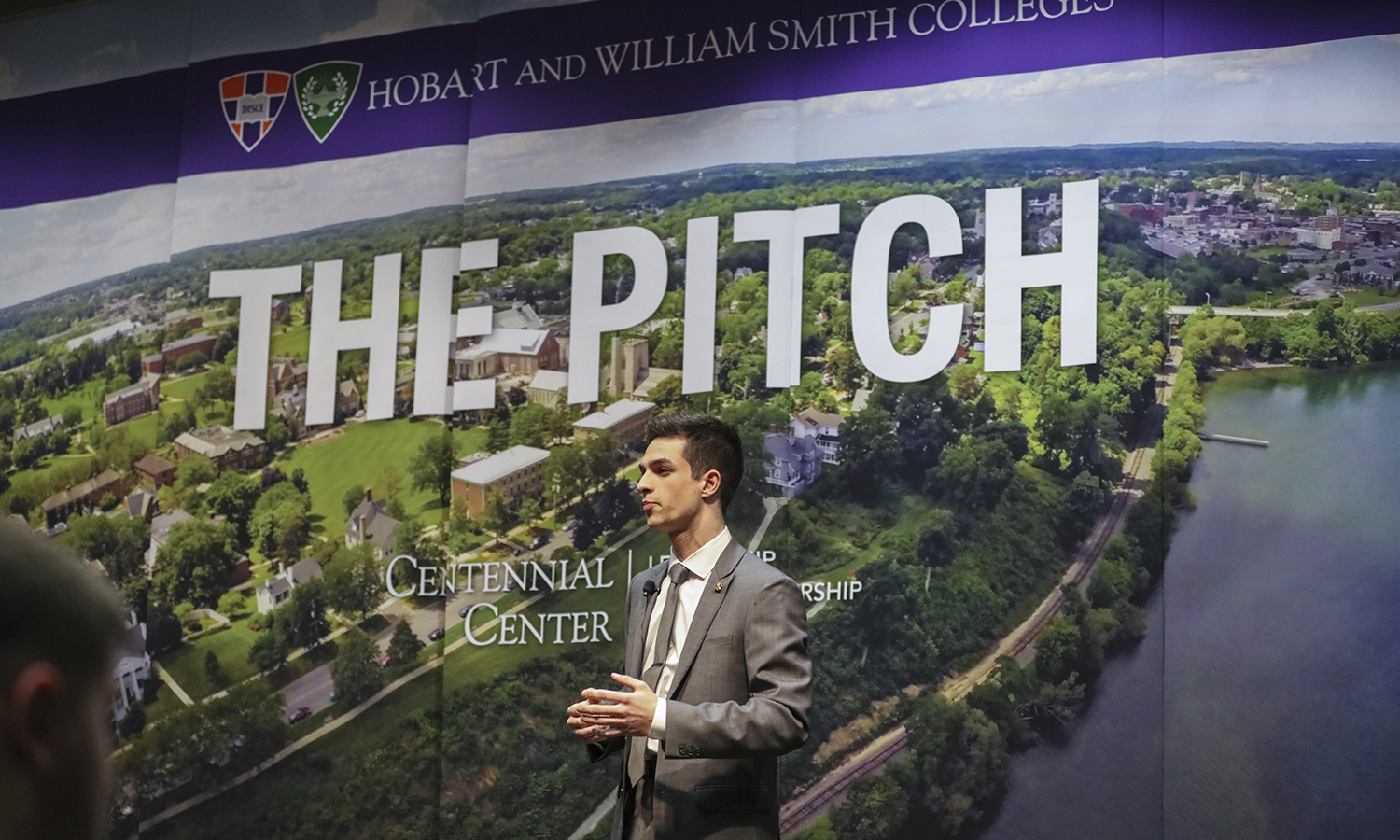 "Samuel Andra '20 pitches ""Sense,"" an advanced tremolo/vibrado system that aids in the prevention of guitar tuning issues, at the annual 2019 Pitch Contest. Andra was one of five contestants to compete in the contest."