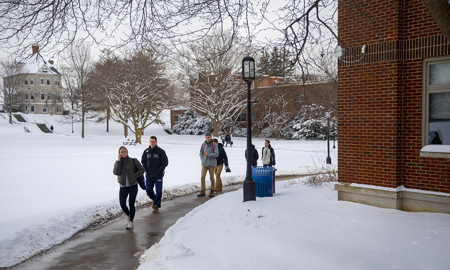 Students walk to class on Tuesday.