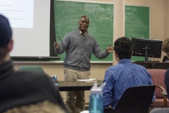 Associate Professor of French and Francophone Studies reviews vocabulary during âIntermediate French IIâ in Demarest Hall.