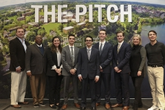 Finalists for the 2019 Pitch contest pose with the judges. After deliberating to select a winner of the competition, the judges reported that initially, each judge selected a different team to win the competition. Caroline Ross Galdabini â89 (second, right) said in her remarks that this spoke to the overall preparedness and strength of the eveningâs presentations.