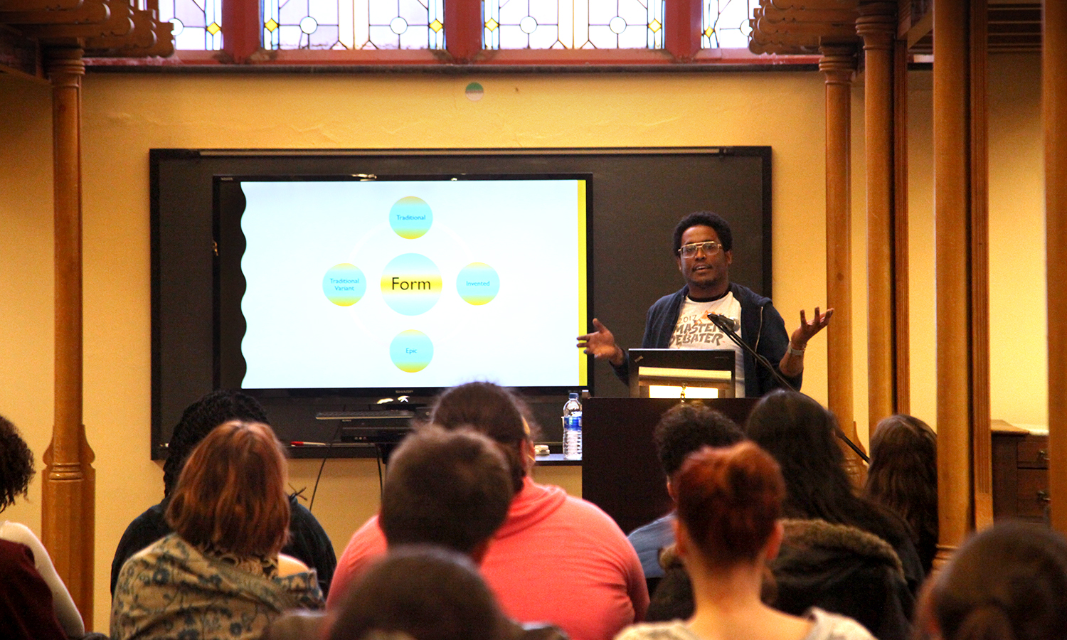 "Renowend performance poet Danez Smith discusses his process during a ""Craft Talk"" in the Blackwell Room on Tuesday. The event was sponsored by the Trias Residency for Writers​."