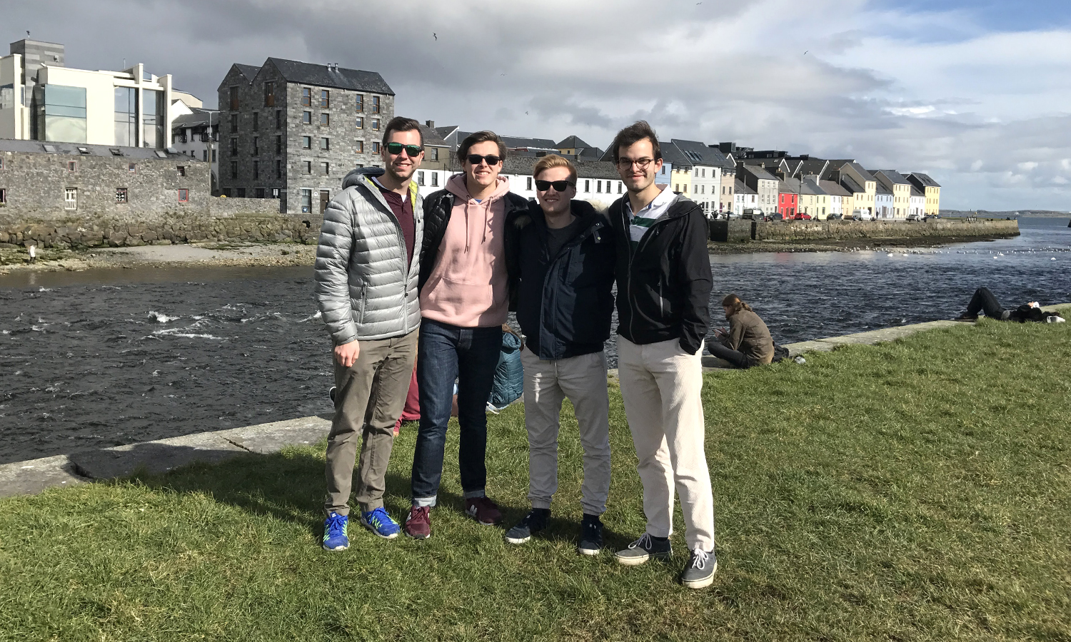 Jonathan Tuttle '18, Ian Tulloch '19, Joshua Andrews '20 and William Fletcher '20 in Galway, Ireland.