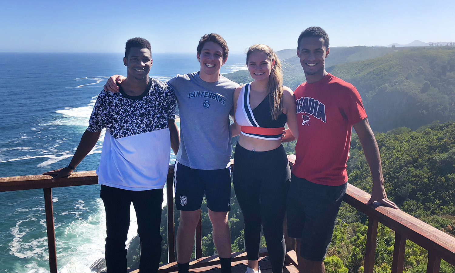 Kai Bradford '19, Dylan Morris '19, Dani Gosselin '19 and Donovan Hayden '19 visit Tsitsikamma National Park while studying abroad in South Africa​.