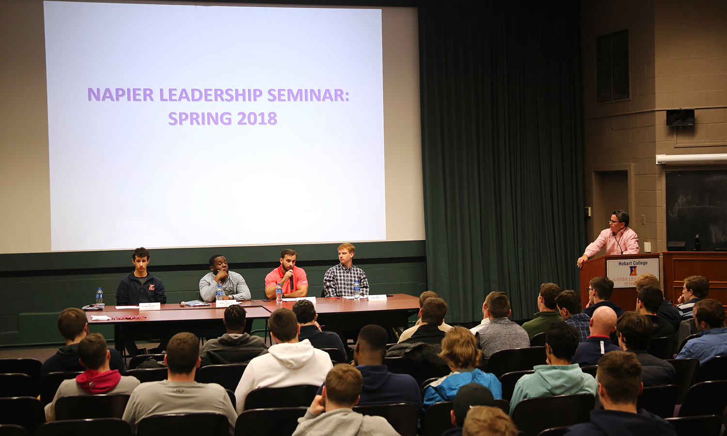 Senior scholar-athletes share their exeperiences balancing academics and athletics as part of the Napier Leadership Seminar in Albright Auditorium.