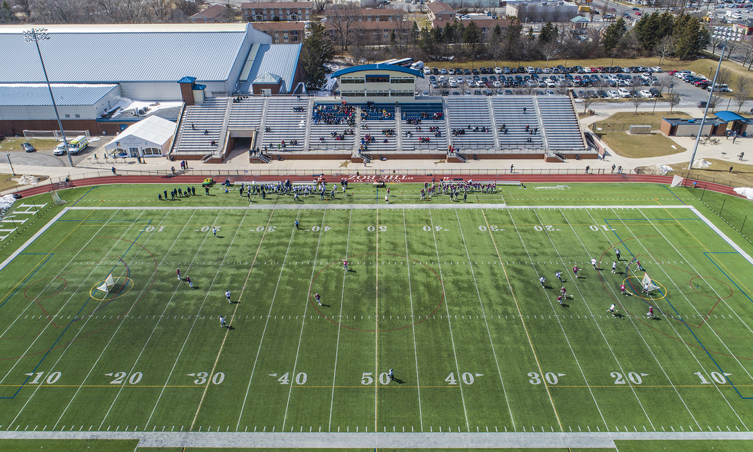 An aerial view of Hobart Lacrosse's game against St. Joseph's University.