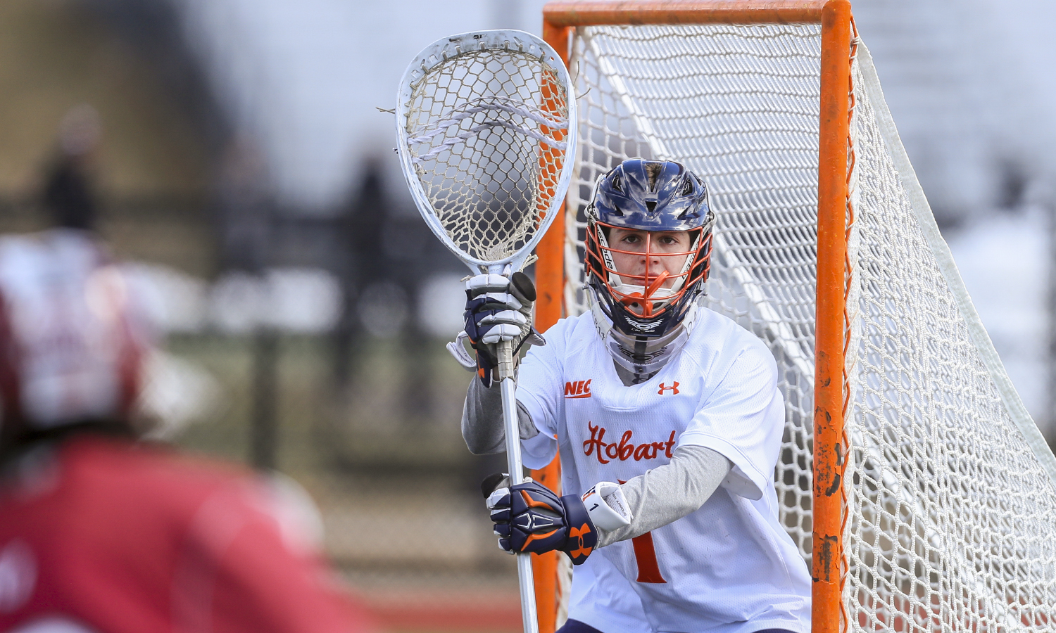 Sam Lucchesi '20 prepares for a shot on goal during Hobart's game against St. Joseph's University.