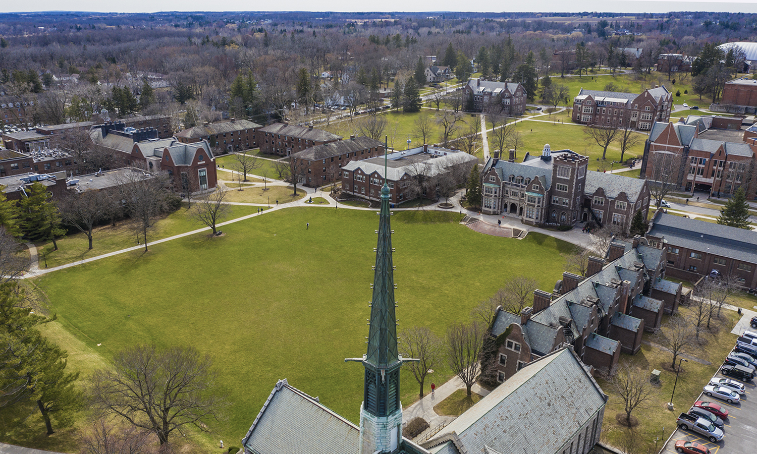 The Quad as seen from above, with the tower of St. John's Chapel in the foreground.