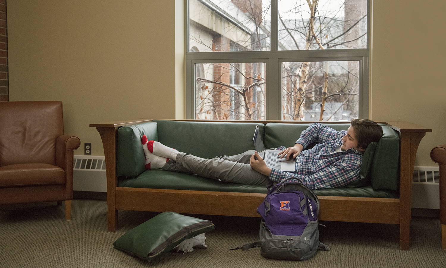 Daniel Lerch '21 studies on the second floor of Scandling Campus Center.