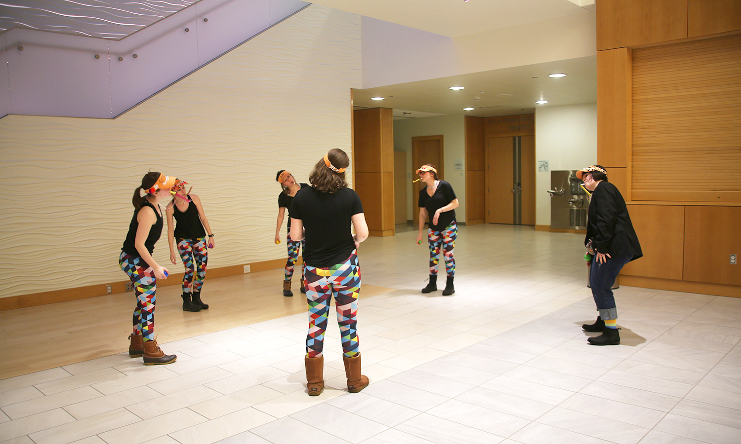 At the final destination of the performance in the Gearan Center for the Performing Arts, Chenkovich dances to the clarinet music being played with the other student organizers.