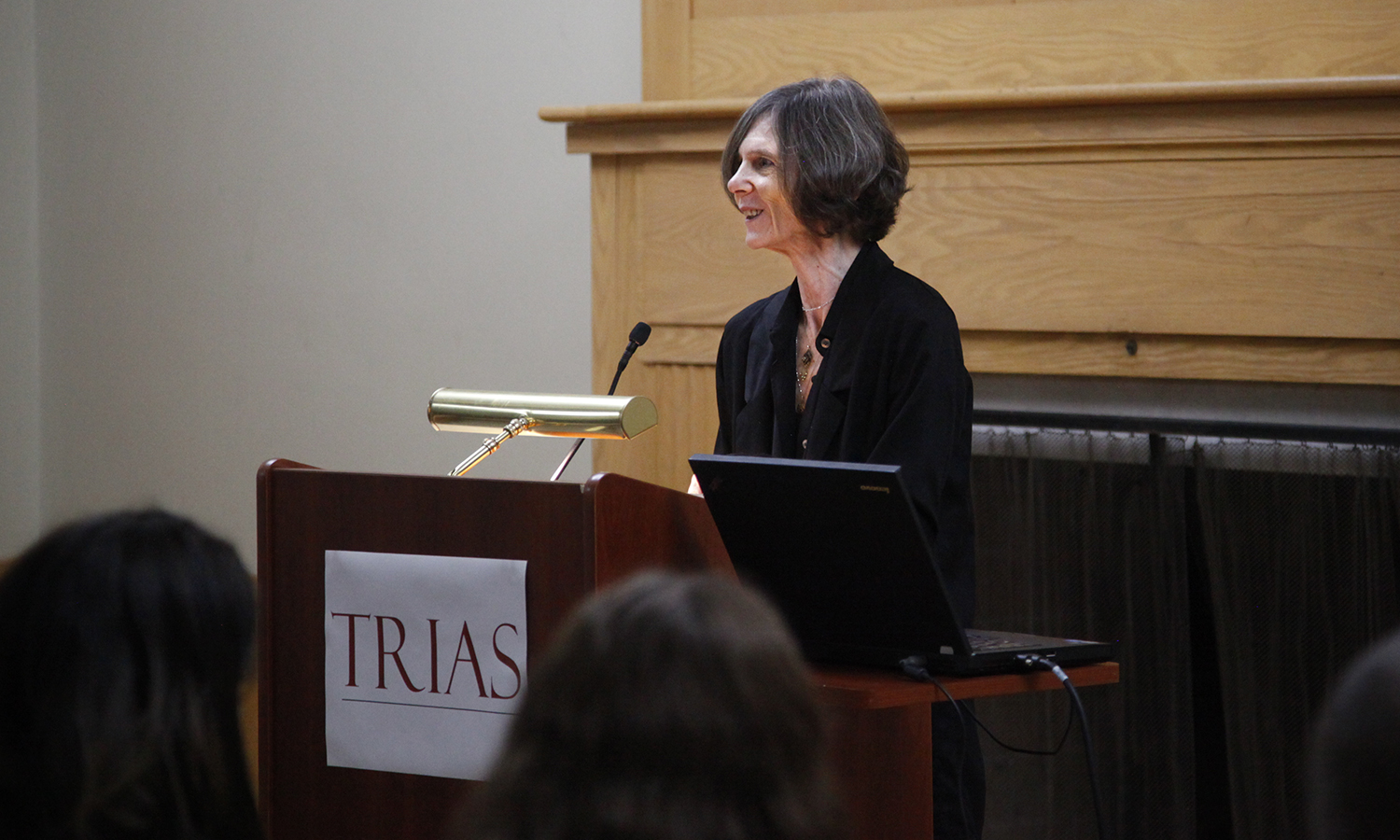 Laurie Sheck, author of A Monster's Notes and Island of the Mad, gives a reading from her new work as part of the Trias reading series in the Hirshson Ballroom.