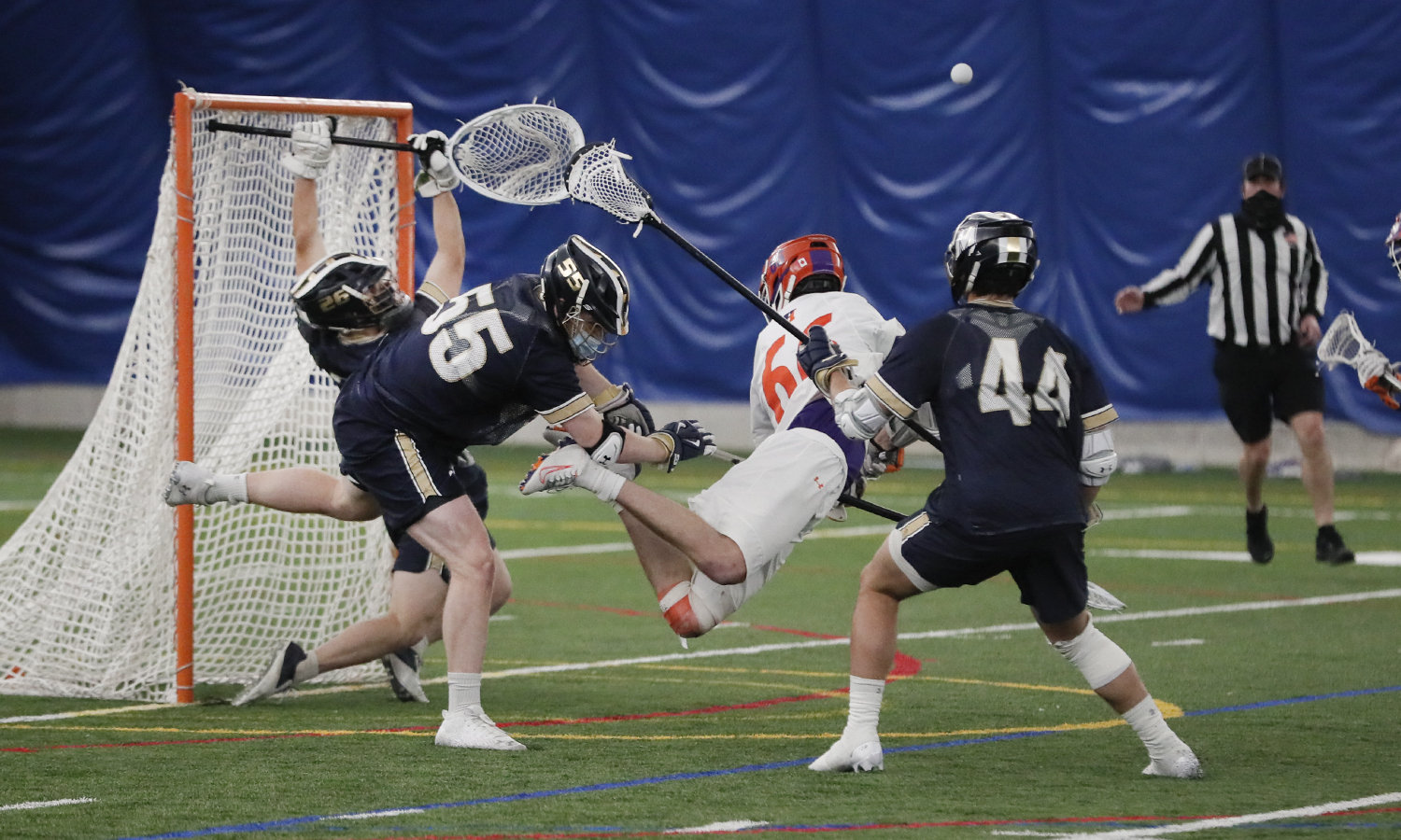 Hobarts Jason Knox takes a shot on goal against Mount St Marys during Saturdays season opener. Although this shot went off the post Knox went on to score 3 goals in the 13-9 win.