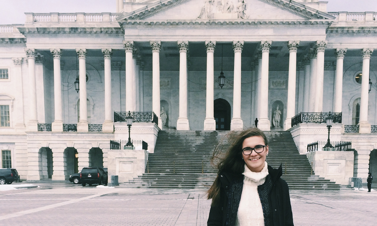 "Caitlin Lasher '18 poses for a photo in front of the United States Capitol building in Washington, DC, where she attended a Public Leadership Education Network (PLEN) seminar titled, ""Women in Congress."""