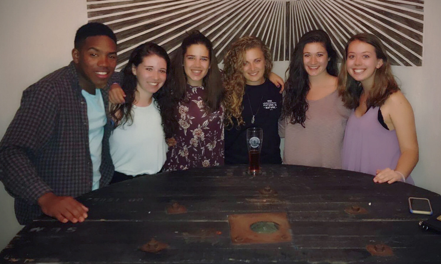 "This ""spring break"" is sunny for us students currently studying abroad at Rhodes University in Grahamstown, South Africa.From left to right:Matthew Benton '18, Sammy Ruthazer '18, Jules Picuri '19, Hannah Wood '18, Gemma Caglioti '19, Miranda Smith '18    RUTHAZER, SAMANTHA <SAMANTHA.RUTHAZER@hws.edu>"