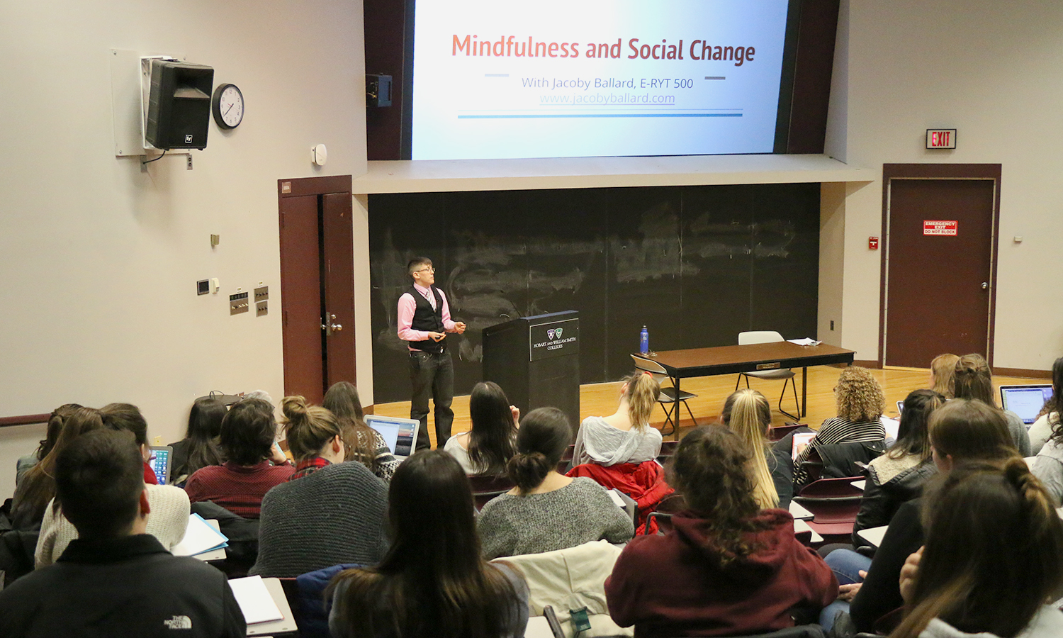 "Yoga Instructor Jacoby Ballard discusses neurobiology of mindfulness practices, and their collective impact on our organizations and communities during ""Mindfulness and Social Change"" in the Geneva Room of Warren Hunting Smith Library."