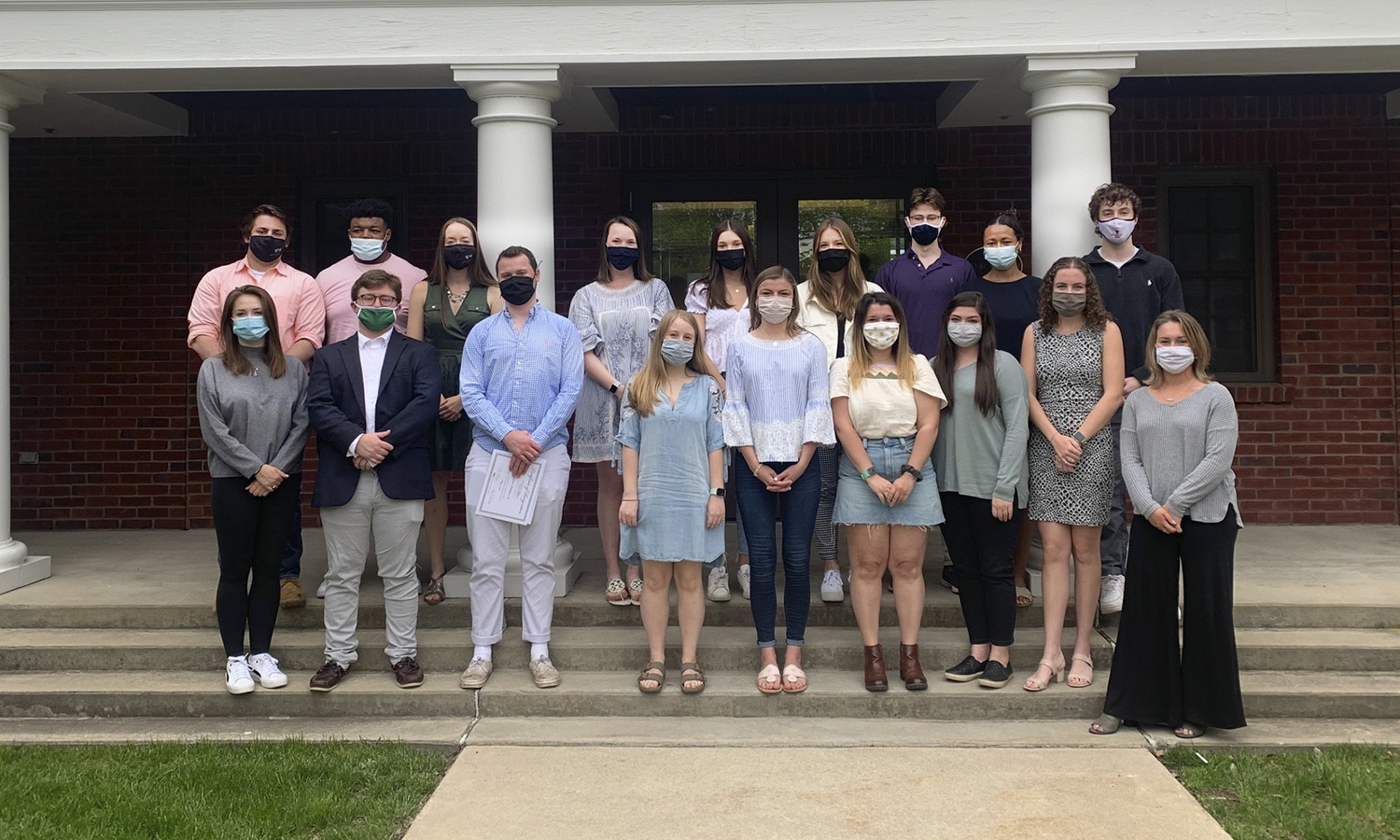 After receiving their HWS Leads certificate, the 24 recipients gather for a photo in front of the Seneca Room on Monday.  The leadership program provides the foundation for students to develop into ethical, inclusive and value-based leaders.