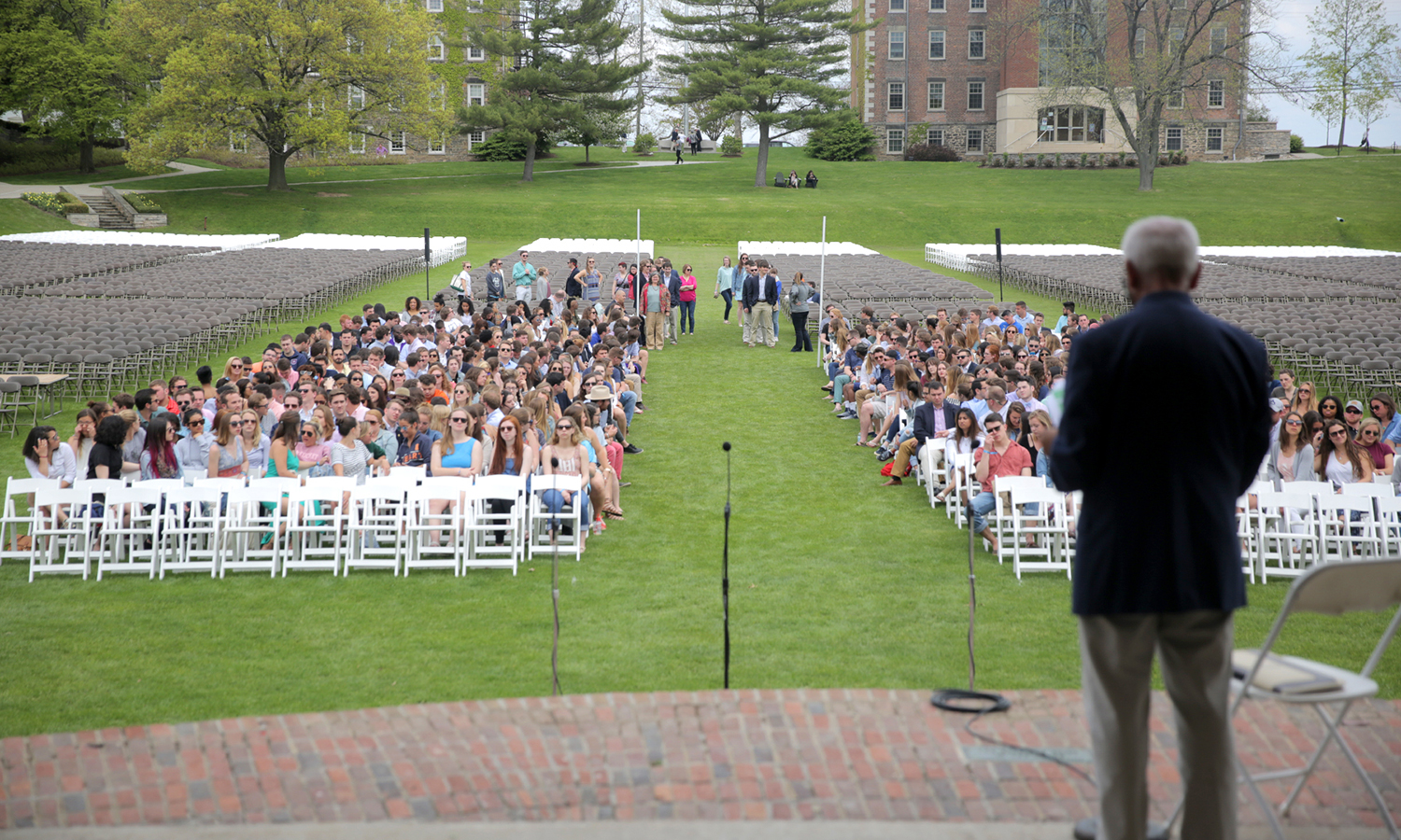 Registrar Peter Sarratori speaks to the graduating Classes of 2016 during rehearsal for Commencement.