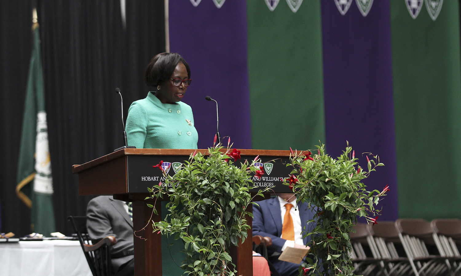 Provost and Dean of Faculty Titi Ufomata welcomes students and their families to the annual Academic Achievement Awards Ceremony in the Robert A. Bristol Field House on Saturday.