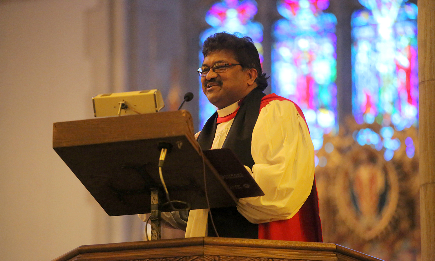 The Rt. Rev. Prince G. Singh, Bishop of the Episcopal Diocese of Rochester and HWS Trustee, makes the keynote address during the 2017 Baccalaureate celebration in Trinity Church.