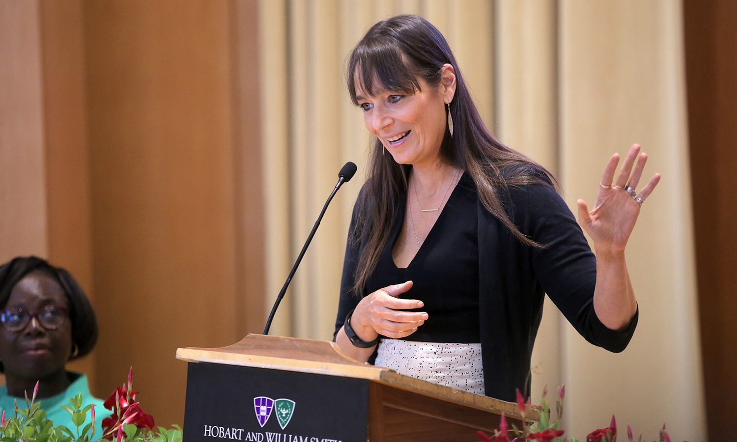 Education strategist and the founder of the Posse Foundation Deborah Bial speaks to students and their families during the Posse Recognition Ceremony in Froelich Hall of the Gearan Center for the Performing Arts on Saturday.
