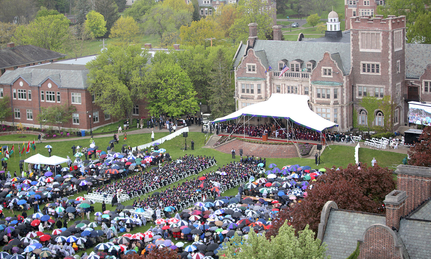 The view from St. Mark's Tower during Commencement 2017.