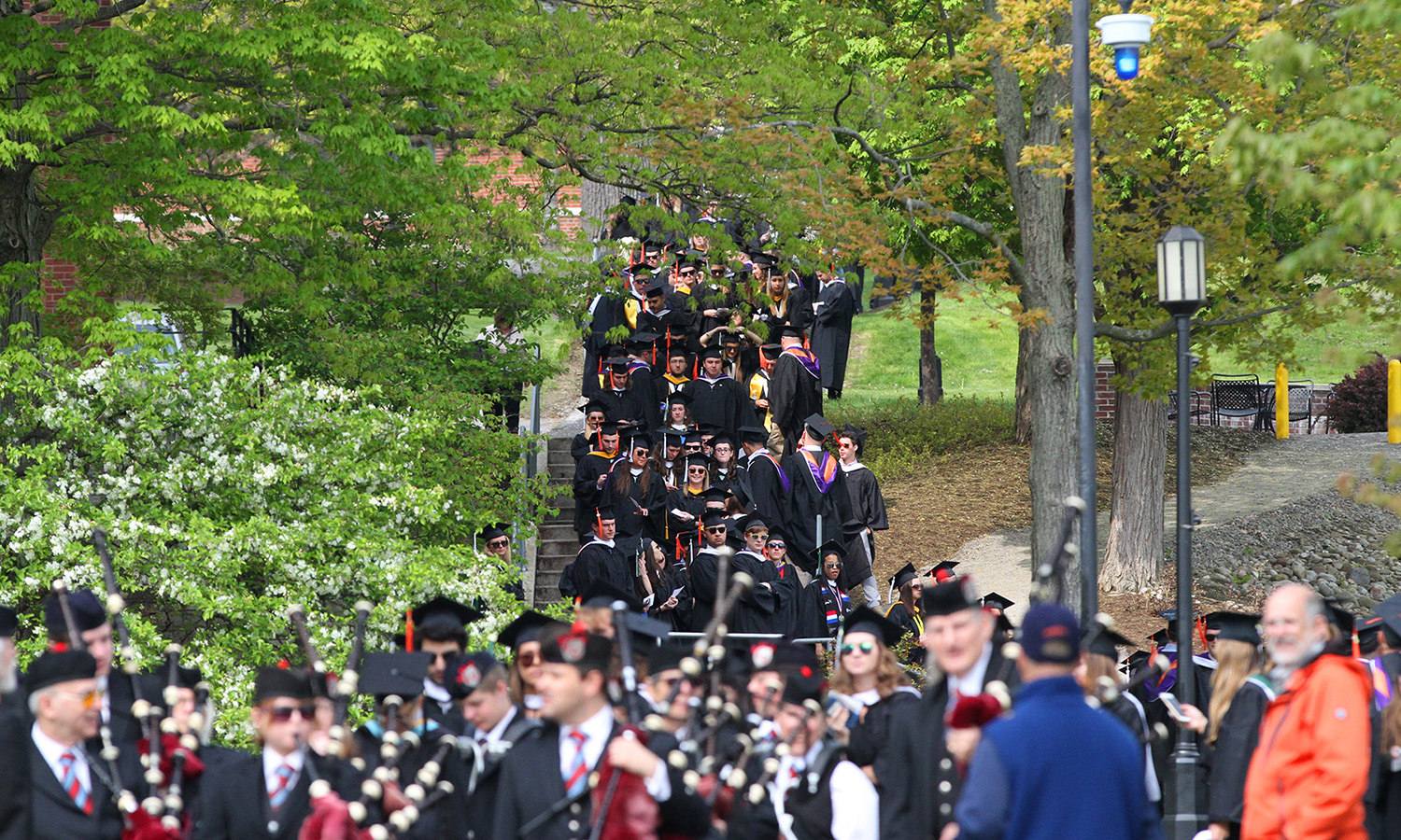 Outside of Bristol Gym, the HWS Classes of 2017 gather for the Commencement procession on Sunday.