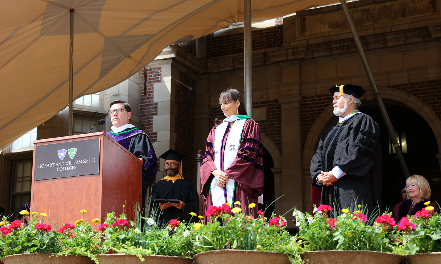 Education strategist and the founder of the Posse Foundation Deborah Bial receives her honorary degree from President Mark D. Gearan during Commencement.