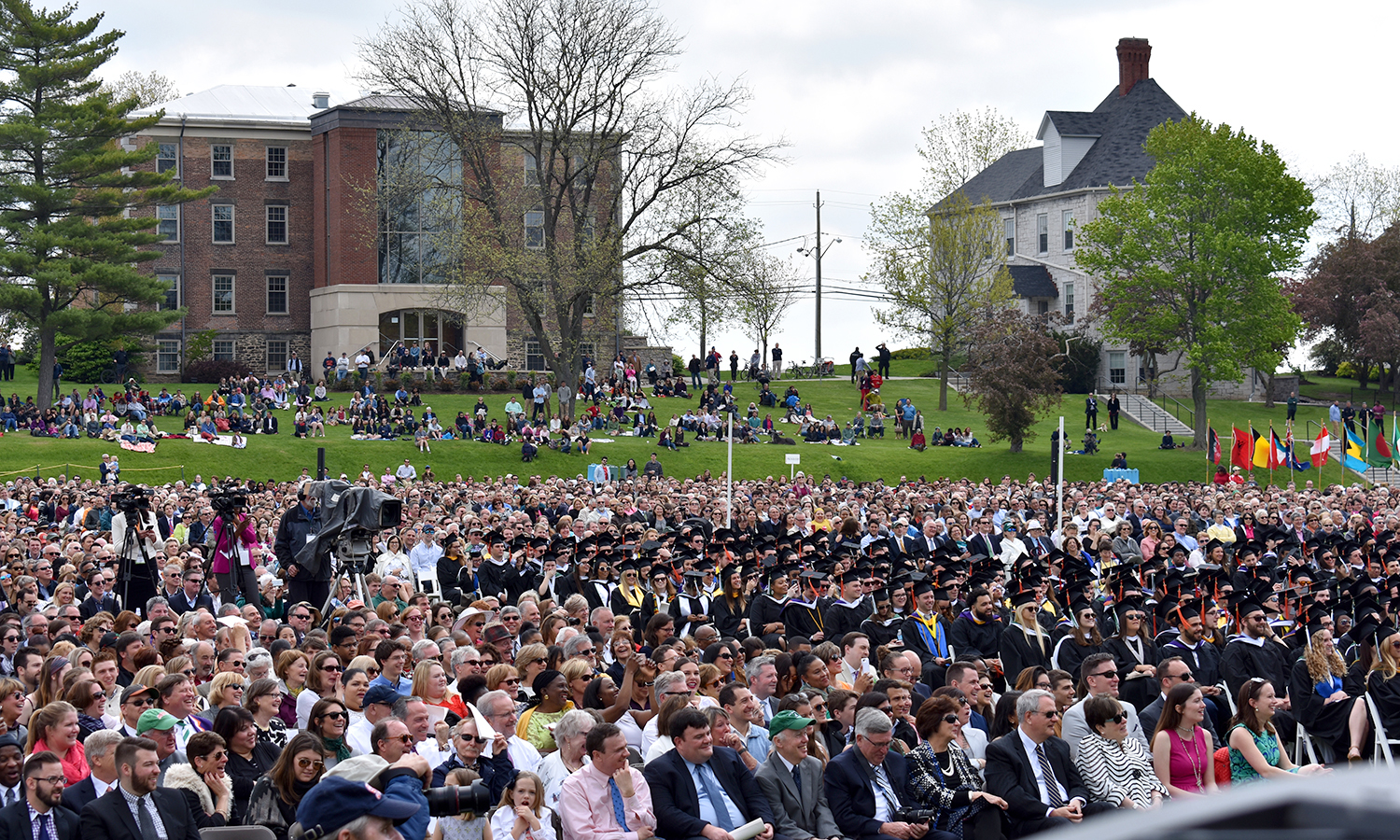 The Classes of 2017 and their families fill the Quad for Commencement on Sunday.