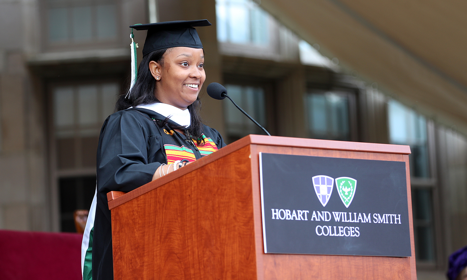 """To President and Mrs. Gearan, thank you for your hard work, dedication, and love for Hobart and William Smith Colleges over the past 18 years. I am so grateful for your unwavering support of my success, and the success of the HWS and Geneva communities. Thank you both for always opening your door,"" says Student Trustee Sydney Gomez '17, offering the William Smith student address."