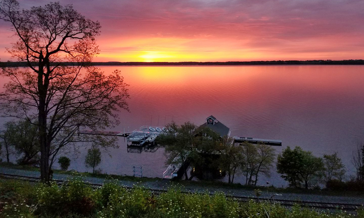 HWS Trustee Emerita Maureen Collins Zupan '72, L.H.D.'16, P'09 captures a stunning sunrise over Seneca Lake.
