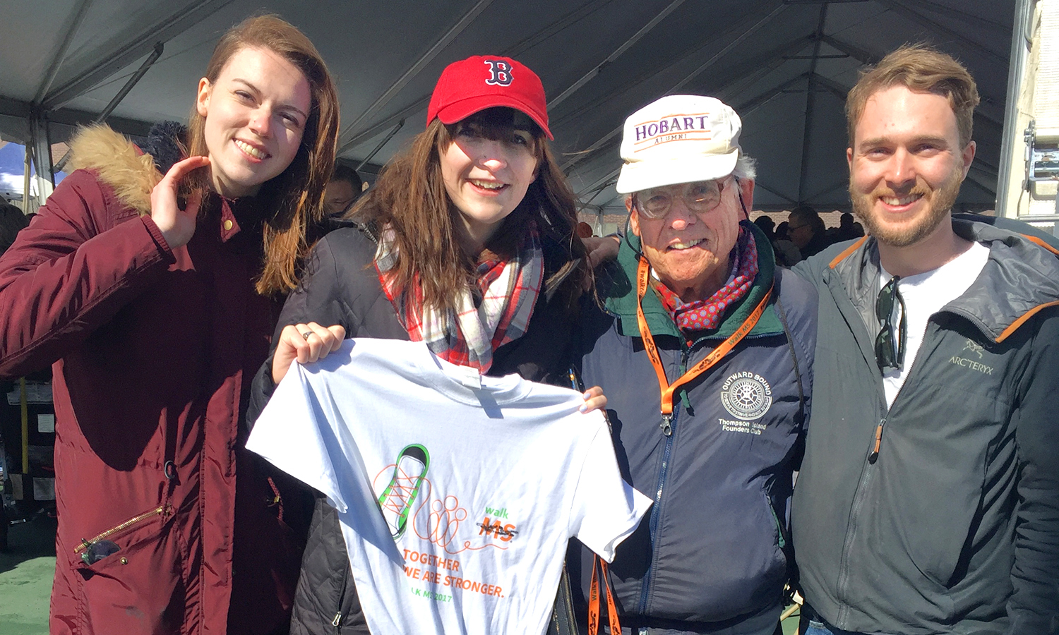 Michelle Poulin '15, Molly Doris-Pierce '15, Lt. Eric Hall Anderson '59 and Nick Snow '15 team-up at Walk MS in Boston on April 2.