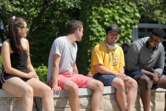 Alanna Fitzgerald '19, Collin Molloy '20, Chase O'Connor '18 and Micah Holloway '19 chat outside of