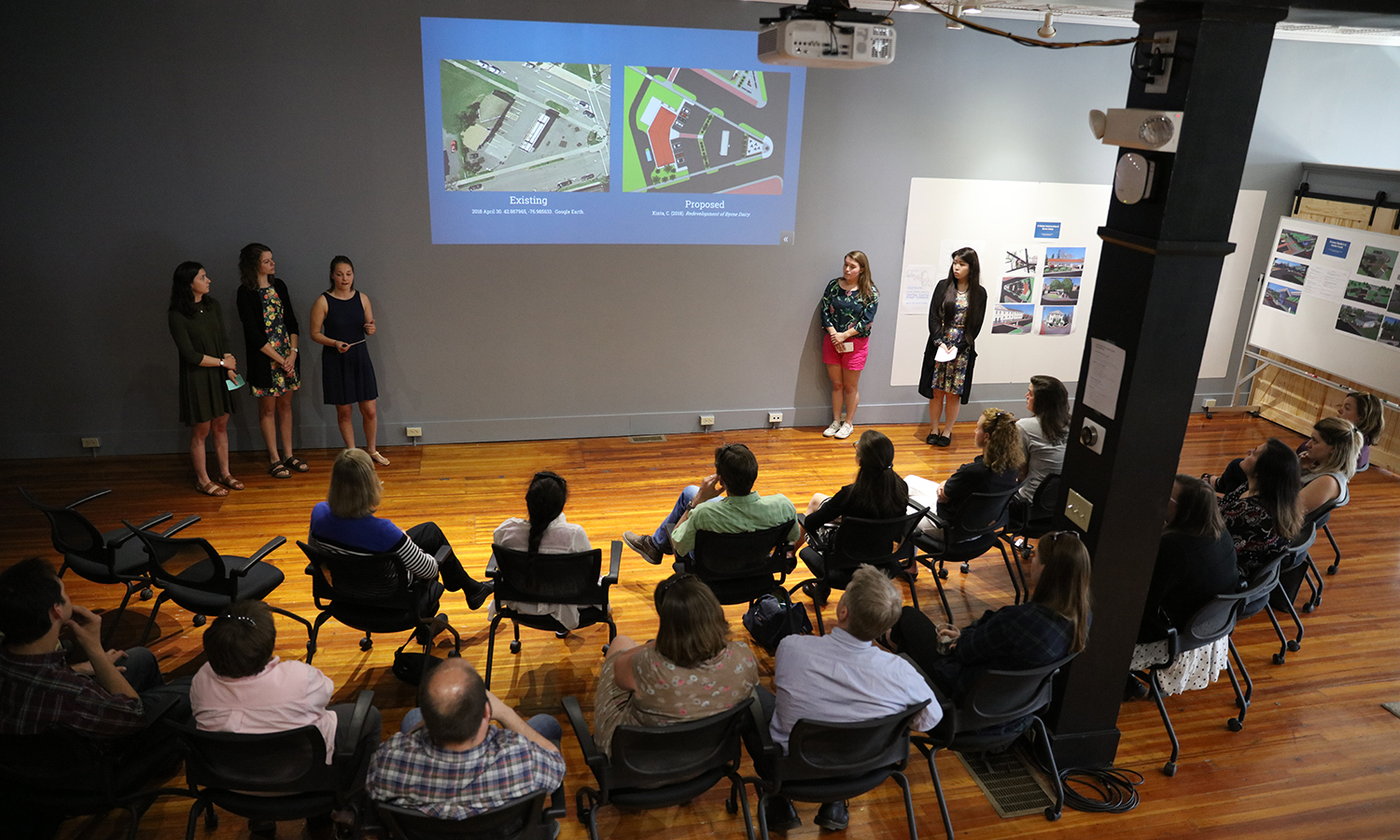 At the Bozzuto Center for Entrepreneurship, students present a sustainability plan for the Castle Street Corridor in downtown Geneva as part of their Sustainable Community Development Capstone.