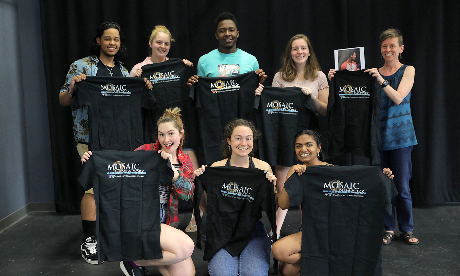 Members of the HWS social justice theatre group Mosaic NY gather for a photo in Williams Hall.