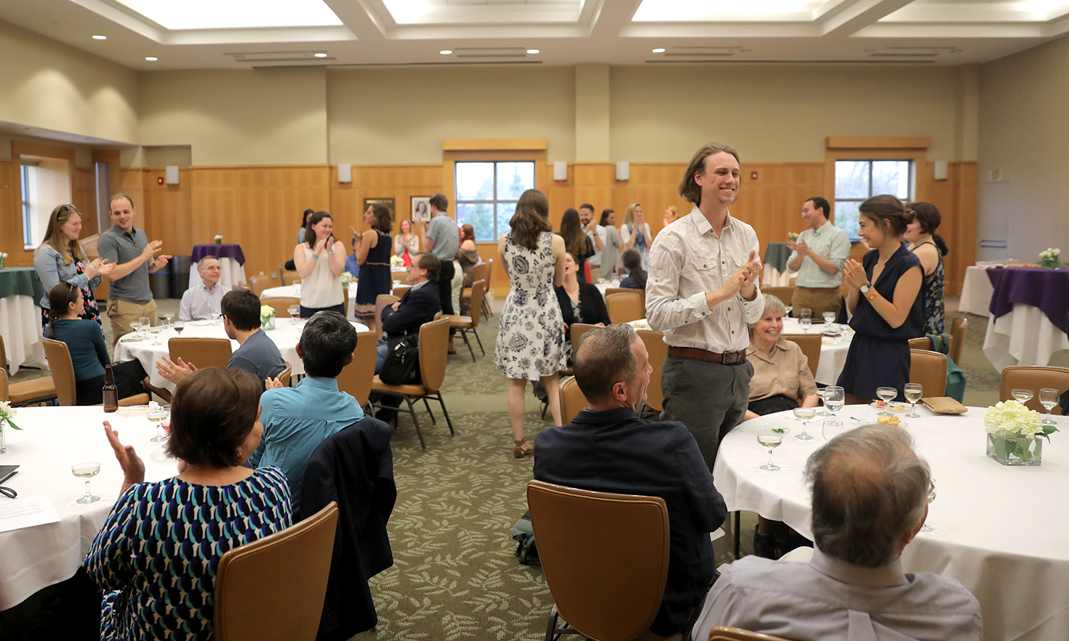 Students who participated in this year's Honors program receive a standing ovation.
