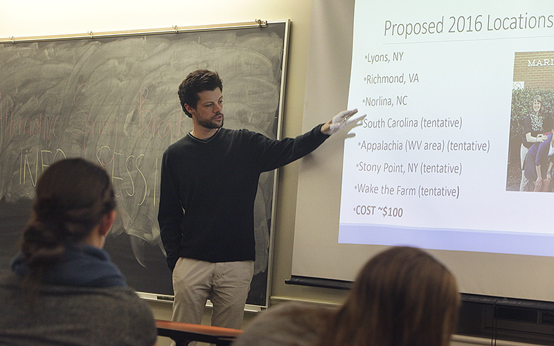 Jeremy Wattles, the Associate Director of the Center for Community Engagement and Service Learning, leads an info session for students who are interested in participating in Alternative Spring Break trips next semester.