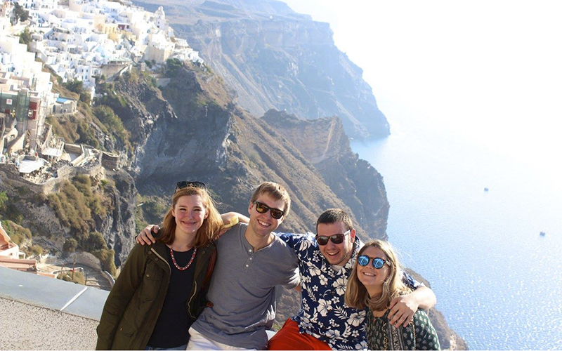 Hi these are from our fall break, one is of Madeline Boles '17 and Ashley Lyon '17 in London outside of Buckingham Palace. And the other is during our trip to Santorini with Madeline Boles '17, Danny Kot '17, Mike Rusk '17, and Ashley Lyon '17.