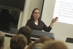 """Dr. Beth Boyer of Pennsylvania State University delivers her lecture """"Atmospheric Mercury Deposition Effects on Forested Watersheds in Pennsylvania"""" at the Finger Lakes Institute as the final talk of the Aquatic Seminar Series."""