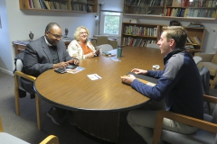 Chaplain Maurice Charles, Associate Provost Virginia Mansfield-Richardson and Joshua Kreeger-Smith â16 part of the LGBTQ&Allies working group looking at possible models for an LGBTQ Resource center at HWS.