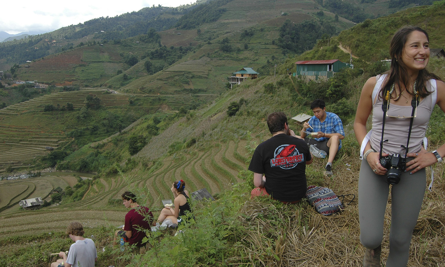 Alyssa Cupano â21 captures Gianna DeVita â21 (right) and fellow students as they take a break while hiking the mountains of Sapa in Vietnam.