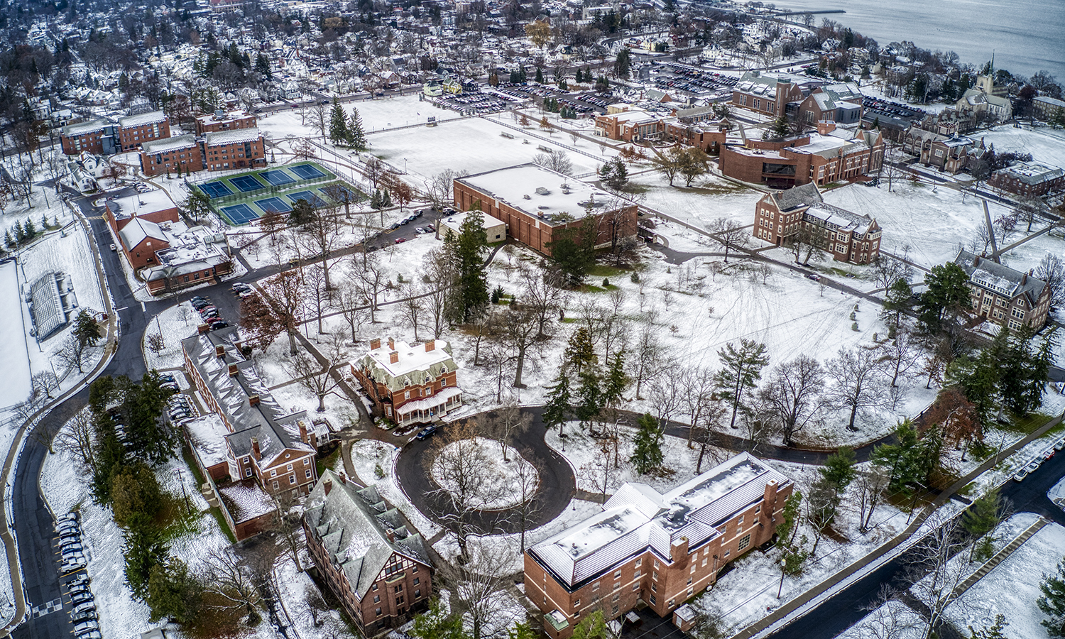 A thin blanket of snow covers William Smith Hill and the HWS campus.