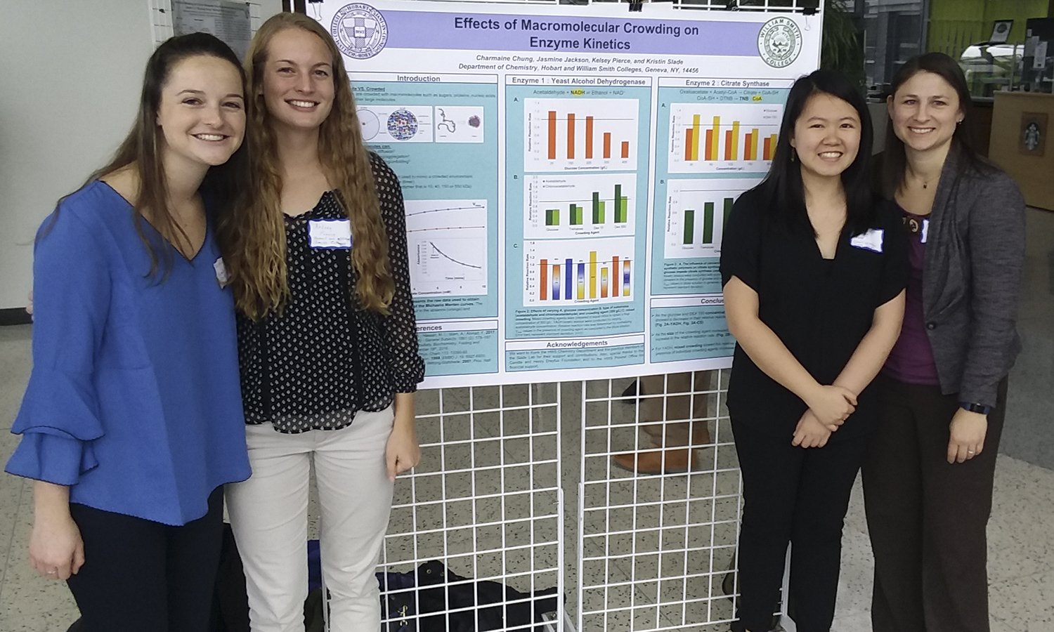 On Saturday Nov 17, 7 students (Charmaine Chung, Kelsey Pierce, Sophie Shaw, Roslyn Patel, Nate Webster, Marissa McFadden, Johnathan Thrall)  and 3 faculty (Walter Bowyer, Erin Pelkey, Kristin Slade) attended a Chemistry Conference at Binghamton University to present their research.  Charmaine Chung and Kelsey pierce won an award for the presentation of their research poster.Sophie Shaw, Kelsey Piece, Charmaine Chung, Kristin Slade with the winning poster