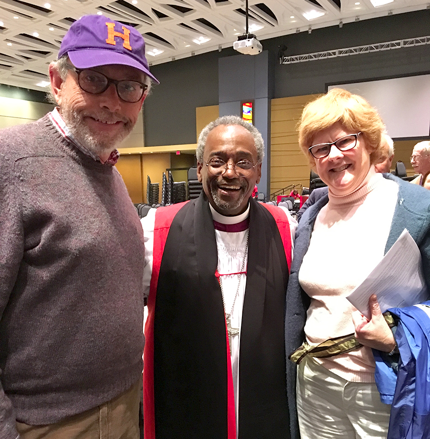 Rich Malley P'15, P'17 and Kyle Conard P'15, P'17 pose with The Most Reverend Michael B. Curry after attending the Celebration of the Spirit in Hartford, CT.
