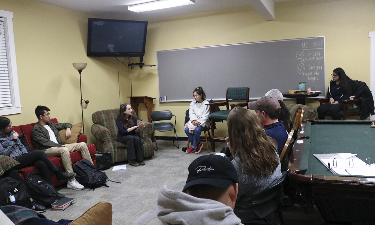 Students gather in the Intercultural Center for a Fireside Chat with Assistant Professor of Education Naomi Rodriguez as she shares her research on child welfare policy and immigration enforcement in the San Diego-Tijuana region.
