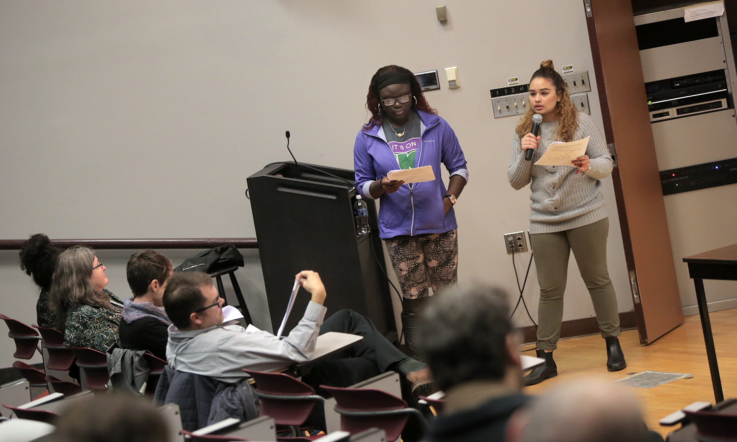 Niame Traore and Tanish Genao present at the Strategic Diversity Plan Town Hall Meeting on Wednesday.
