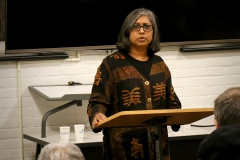 Premilla Nadasen, associate professor of history at barnard college, speaks as a part of the fisher center No Place Like Home series.