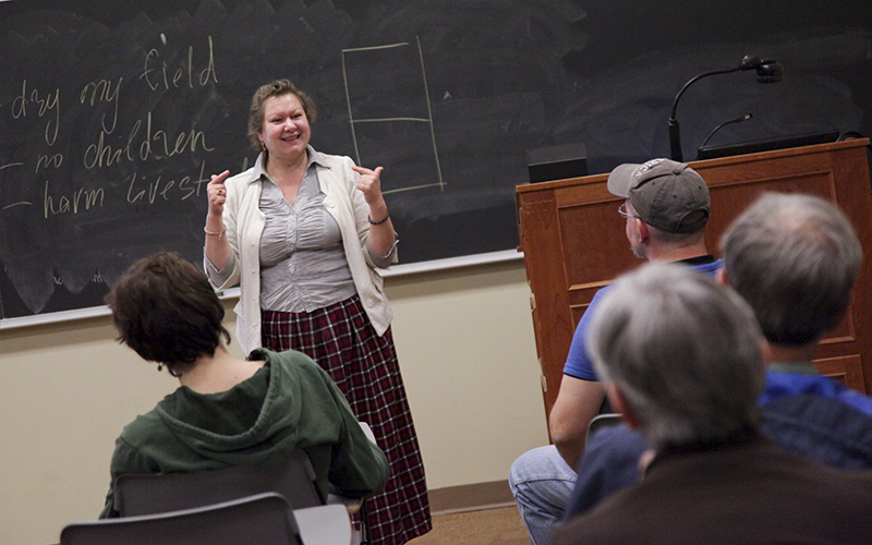 "Yelena Minyonok, chief curator of the Folklore Archive and Major Researcher in the Folklore Division Russian Academy of Sciences in Moscow, spoke to faculty and students about ""The Witch Next Door: Miracles of Beleif in Modern Russia"", on Wednesday in Stern Hall."