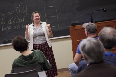 """Yelena Minyonok, chief curator of the Folklore Archive and Major Researcher in the Folklore Division Russian Academy of Sciences in Moscow, spoke to faculty and students about """"The Witch Next Door: Miracles of Beleif in Modern Russia"""", on Wednesday in Stern Hall."""