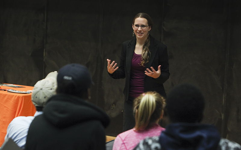 Jennie Seidewand '09 talks to students about job opportunities with EXPLO, a prestigious academic summer camp program held on the campuses of Wheaton College, Wellesley College, and Yale University.